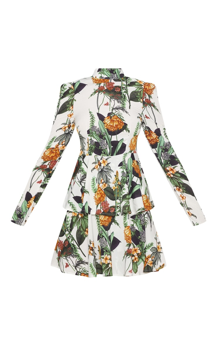White Floral High Neck Tiered Skater Dress 3