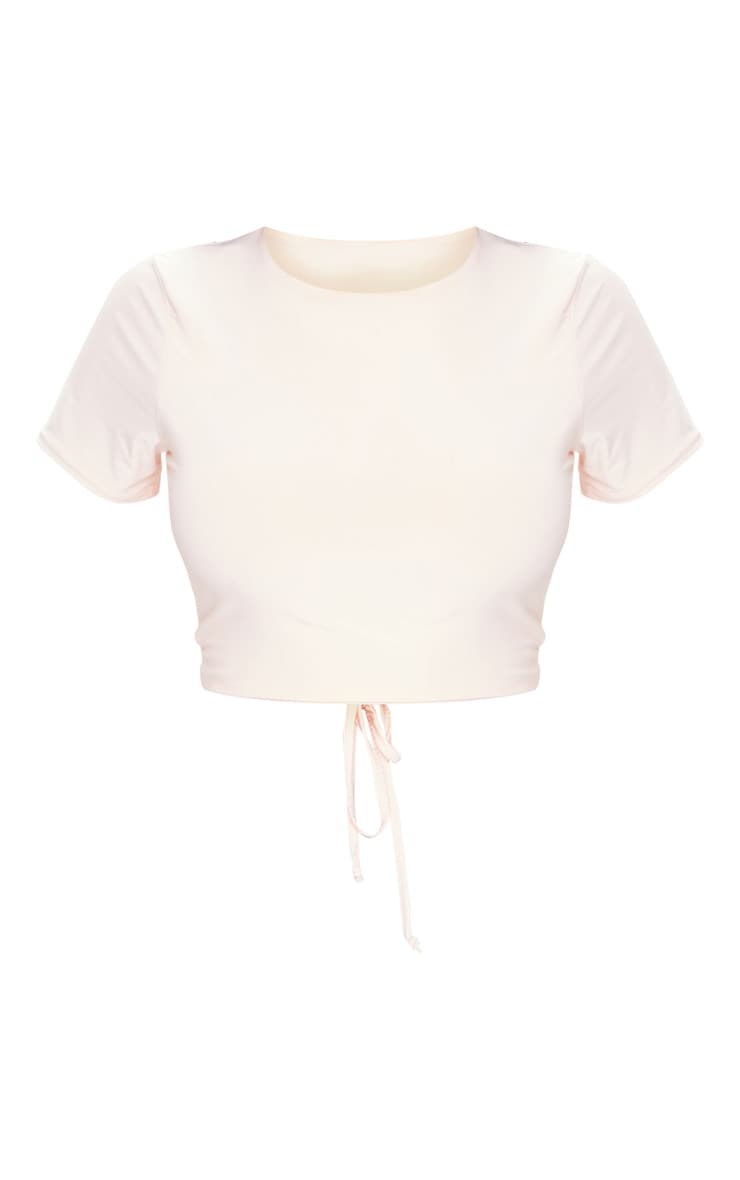 Nude Slinky Tie Back Cropped T Shirt 5