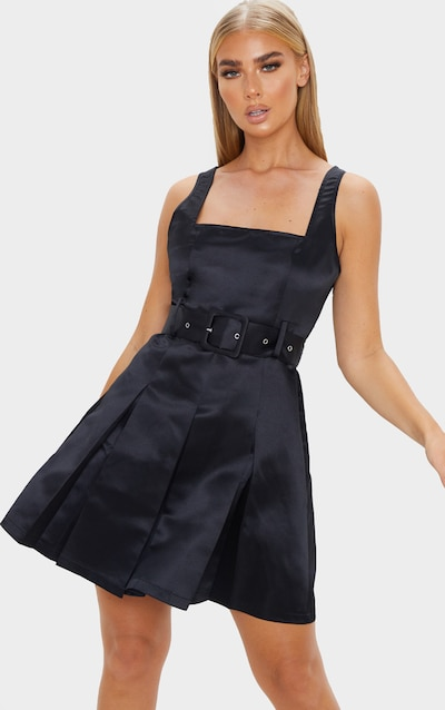 Black Satin Belted Pleat Shift Dress