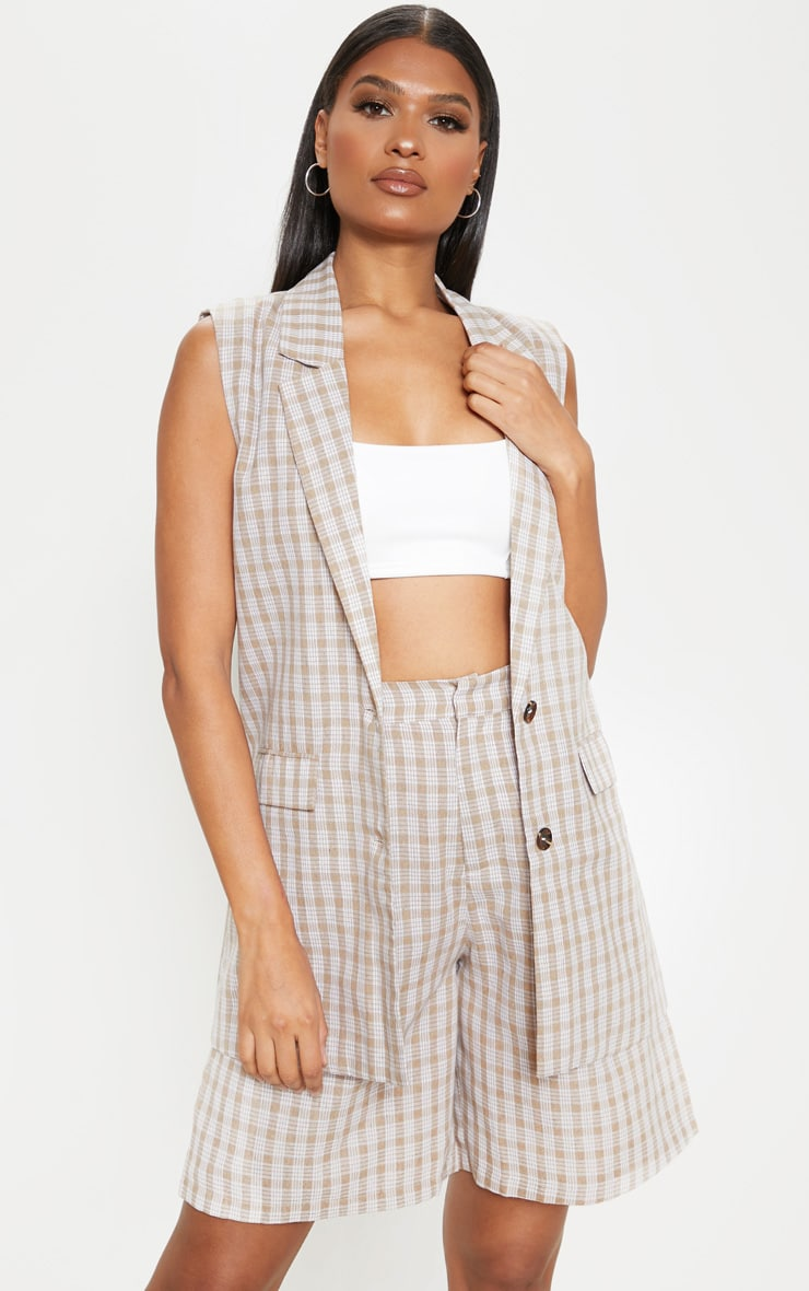 Stone Checked Oversized Sleeveless Woven Blazer    4