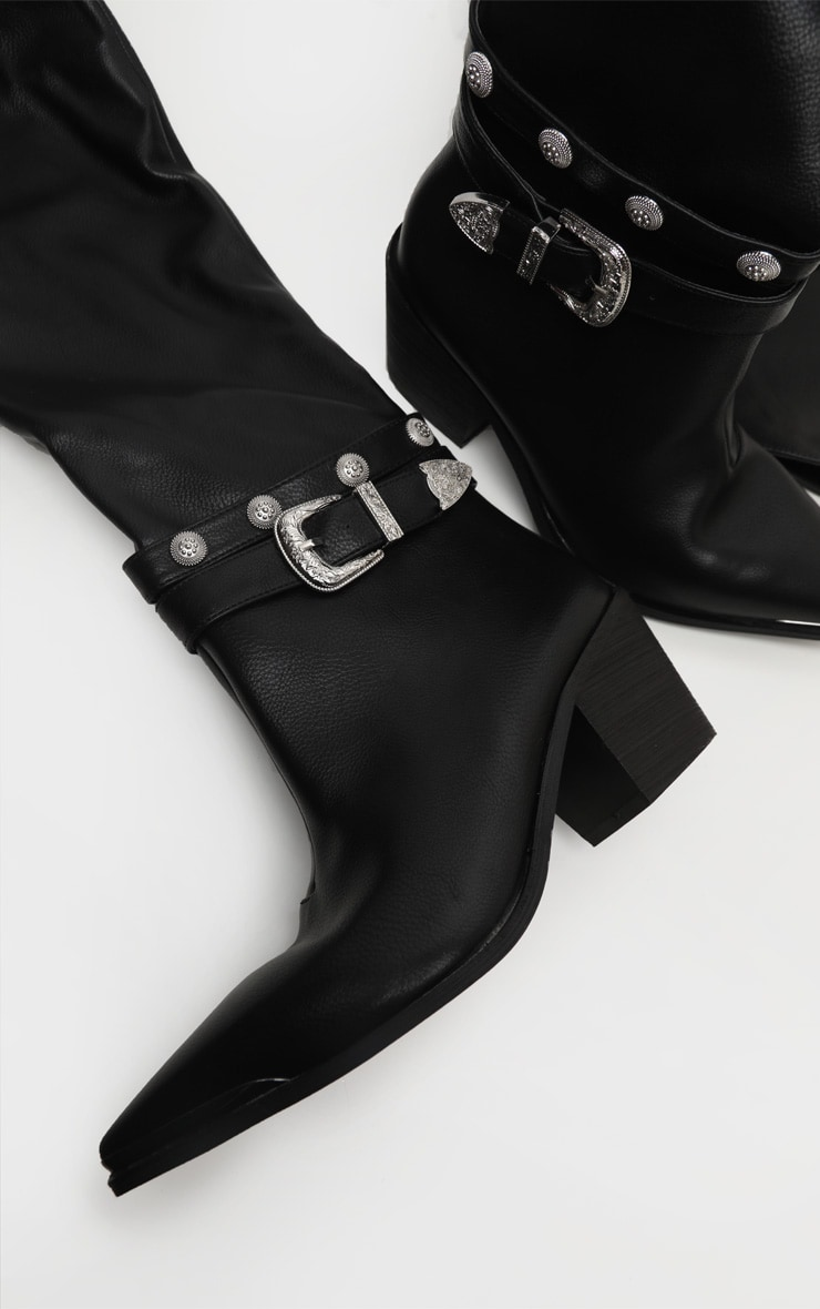 Black Thigh High Studded Buckle Western Boot 3