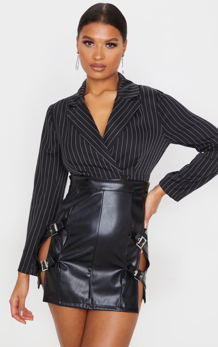 Black Faux Leather Double Buckle Detail Mini Skirt  1