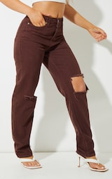 Recycled Chocolate Ripped Long Leg Straight Jeans 2
