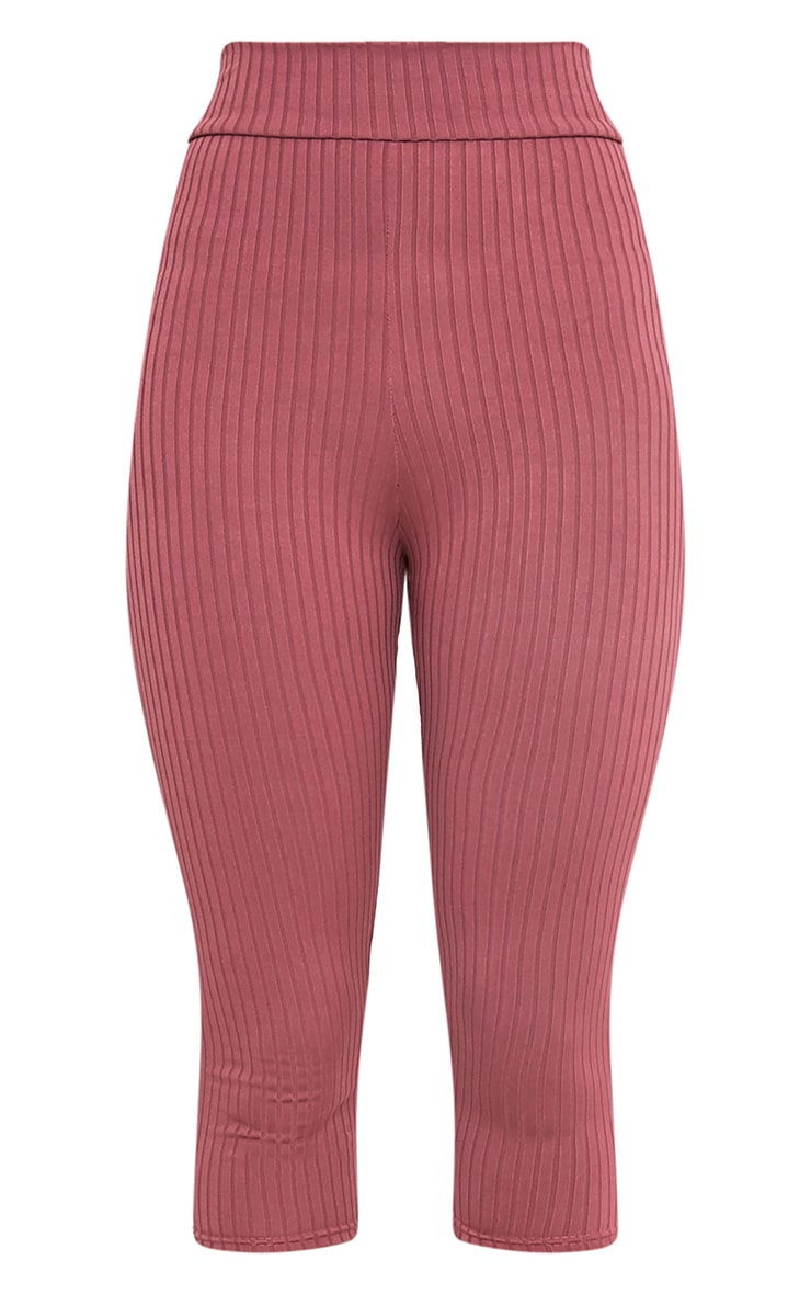 Harlie Rose Cropped Ribbed High Waisted Leggings 4