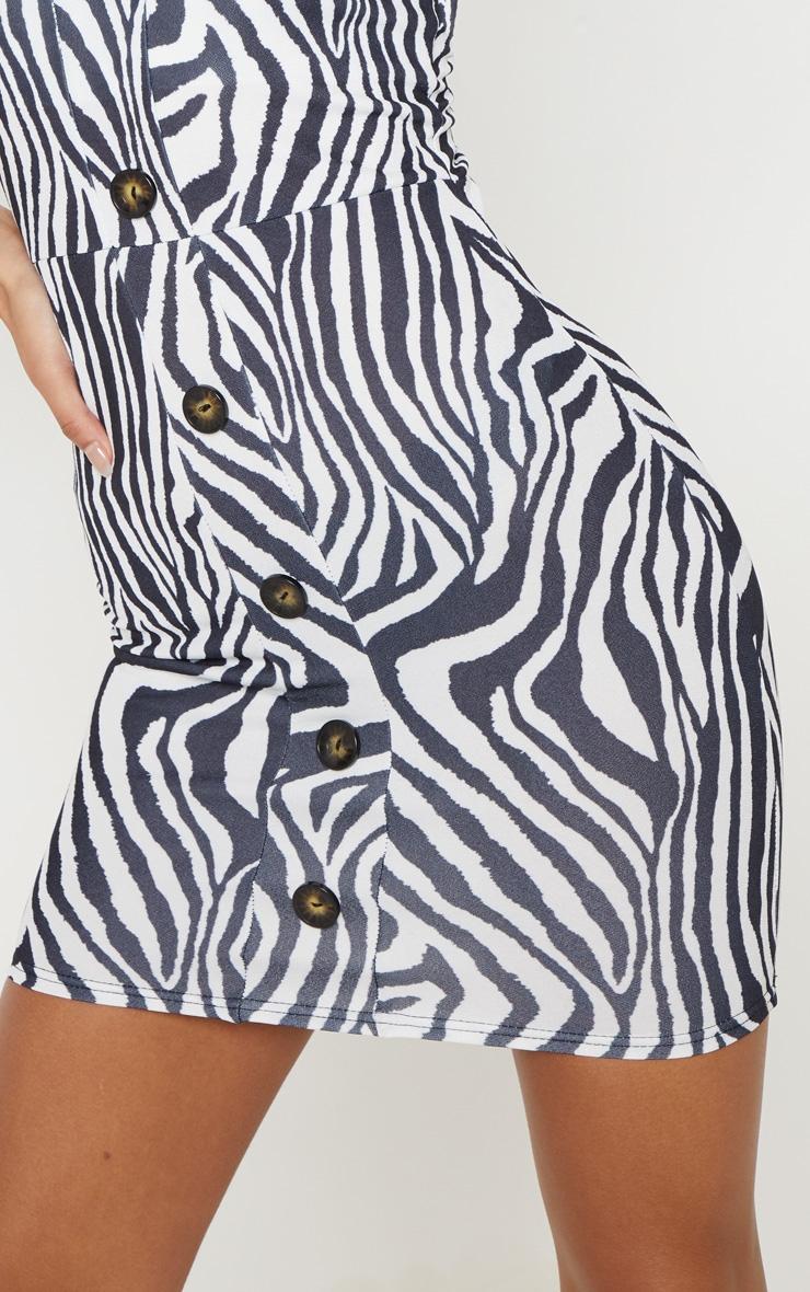 Monochrome Zebra Tortoise Shell Button Front Bodycon Dress 5