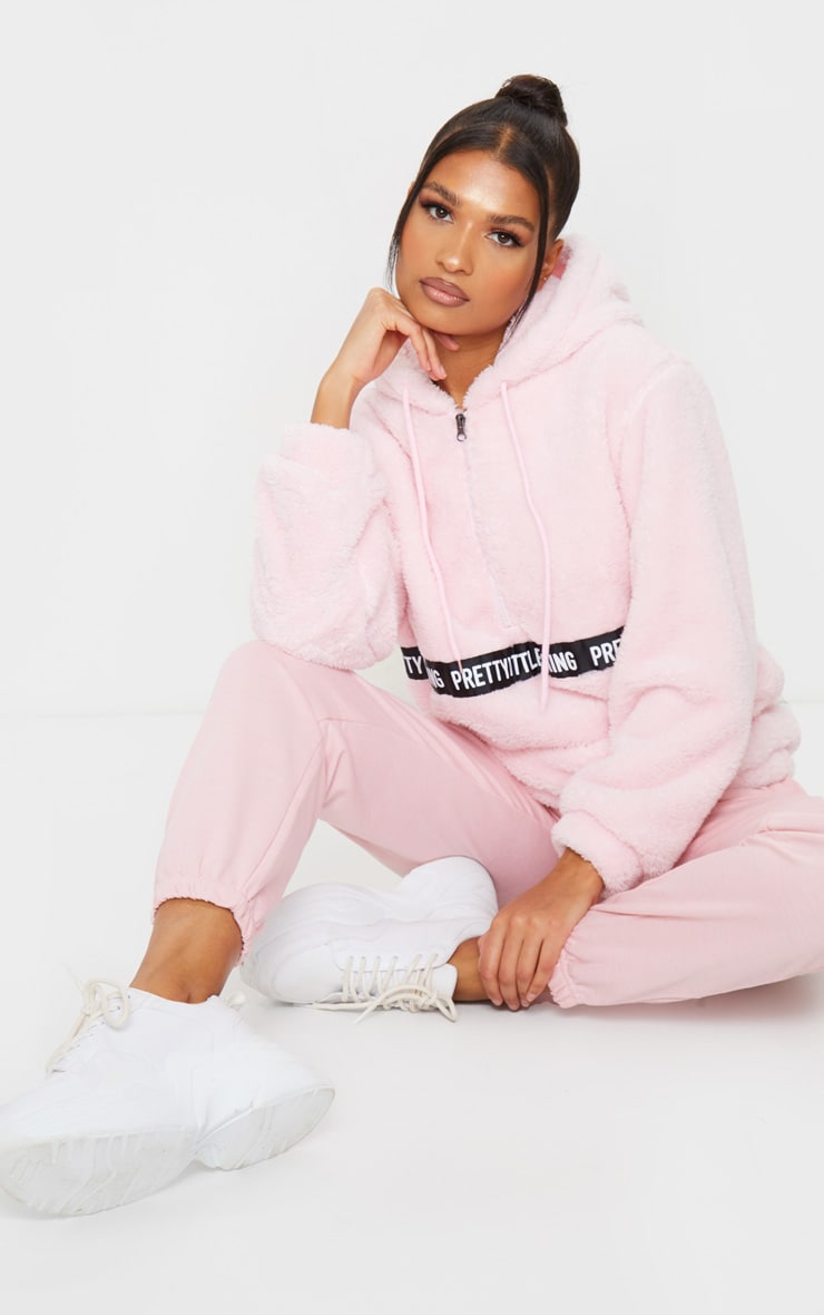 PRETTYLITTLETHING Baby Pink Borg Tape Oversized Zip Sweater 3