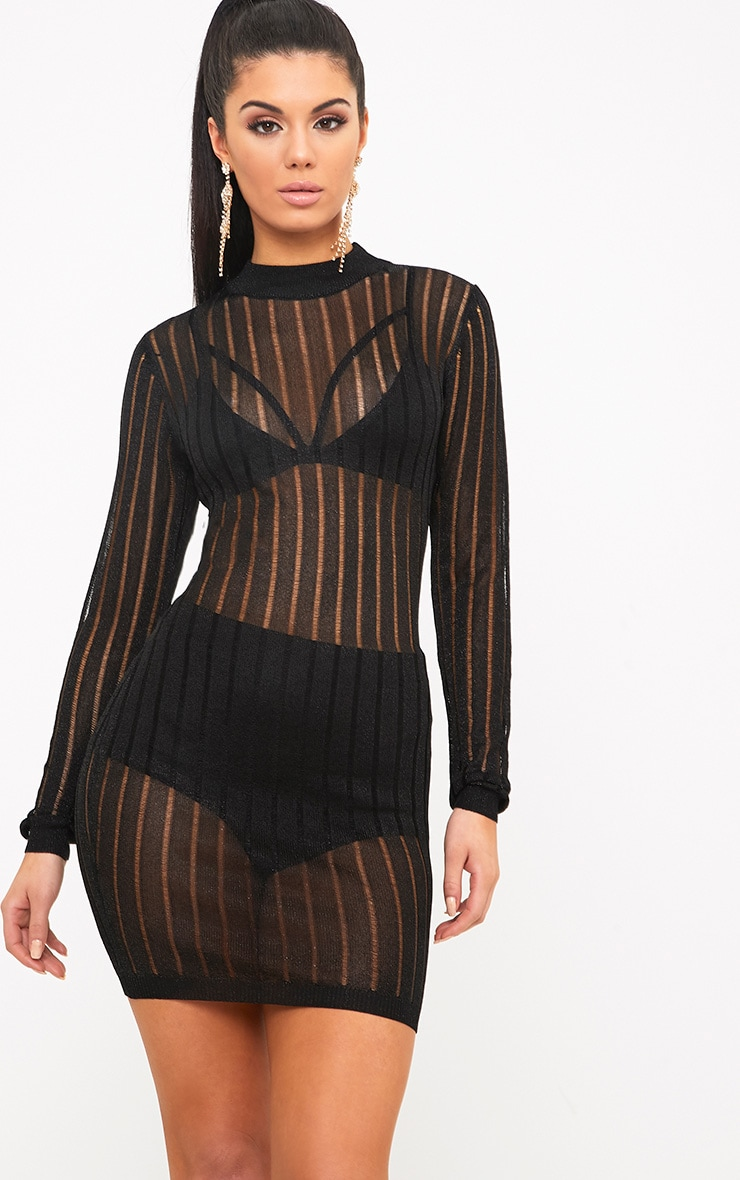 Indigo Black Mesh Knit Bodycon Mini Dress 1