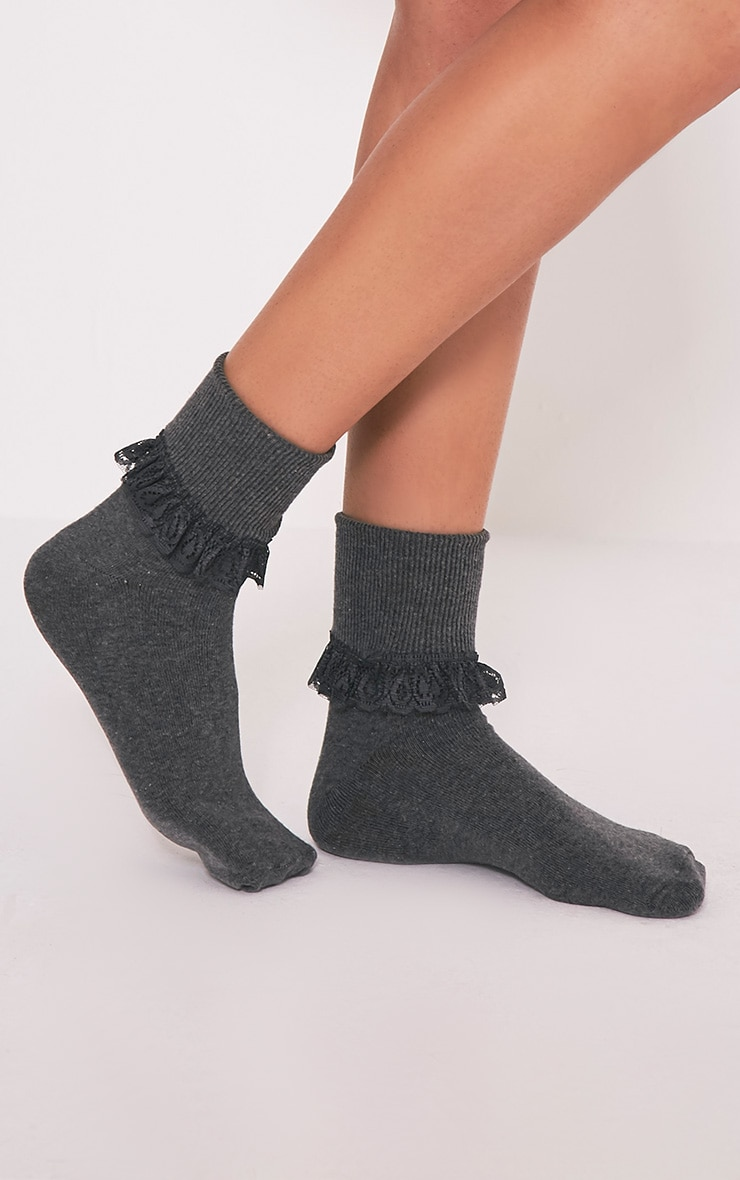 Kimber Grey Lace Trim Ankle Sock 1