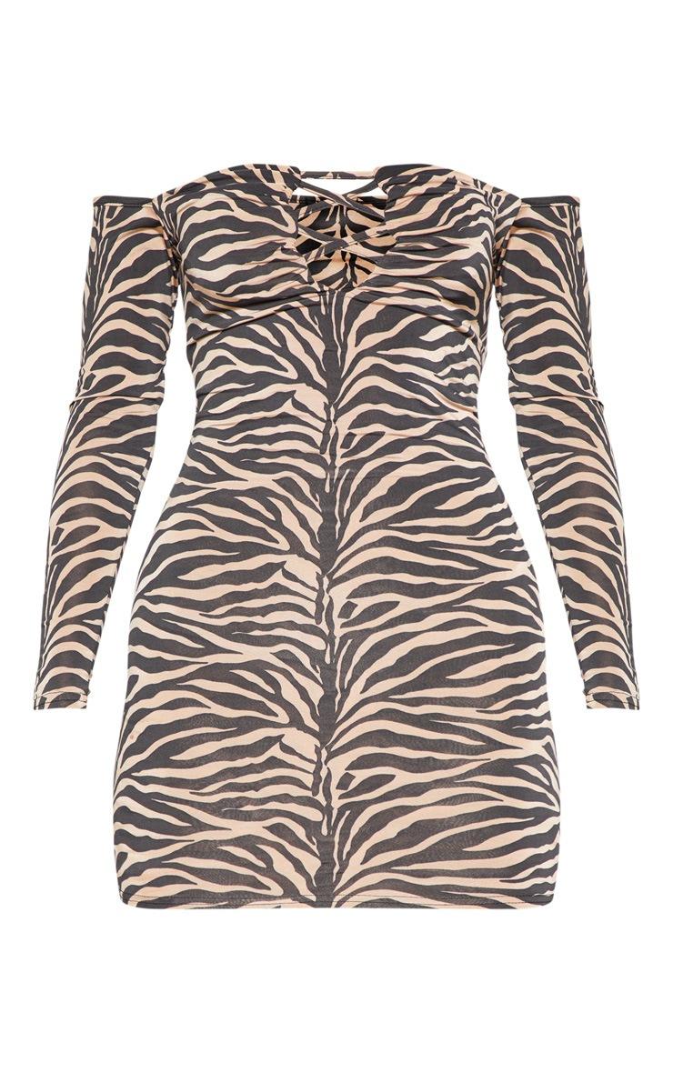 Tan Tiger Print Slinky Lattice Detail Bodycon Dress 3