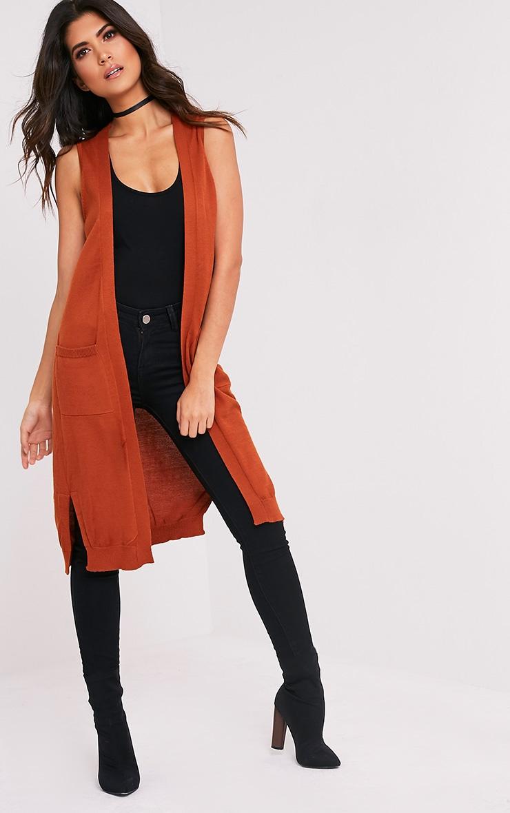 Arlais Orange Long Line Fine Knit Cardigan 5