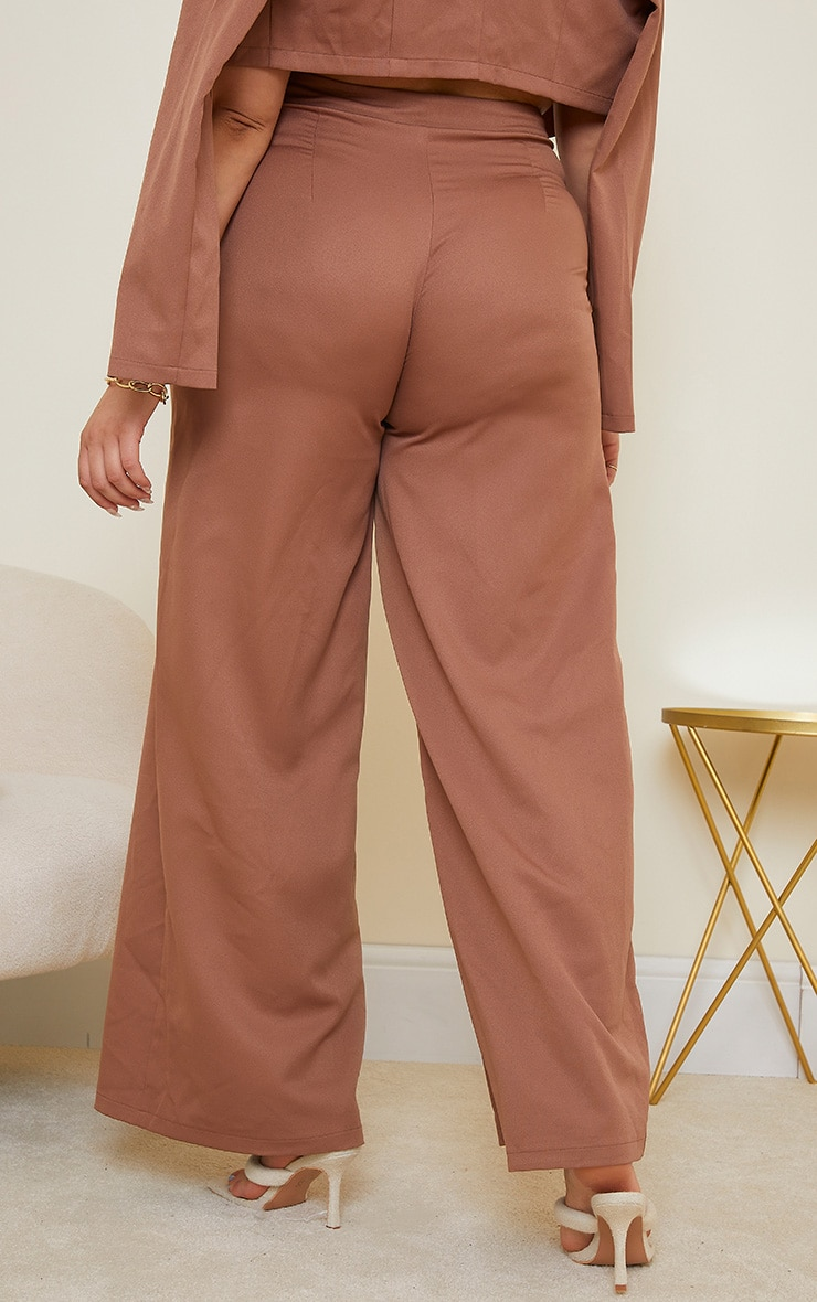 Plus Chocolate Brown Woven Pleat Detail Wide Leg Trousers 3