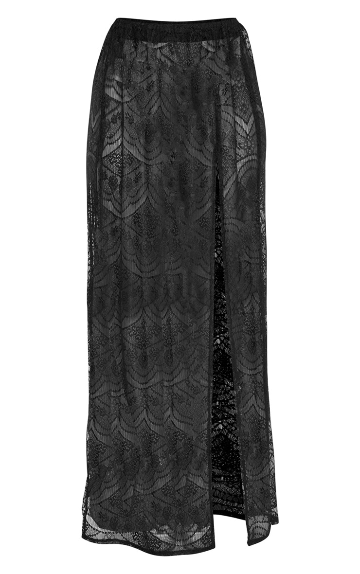Black Lace Split Maxi Beach Skirt 3