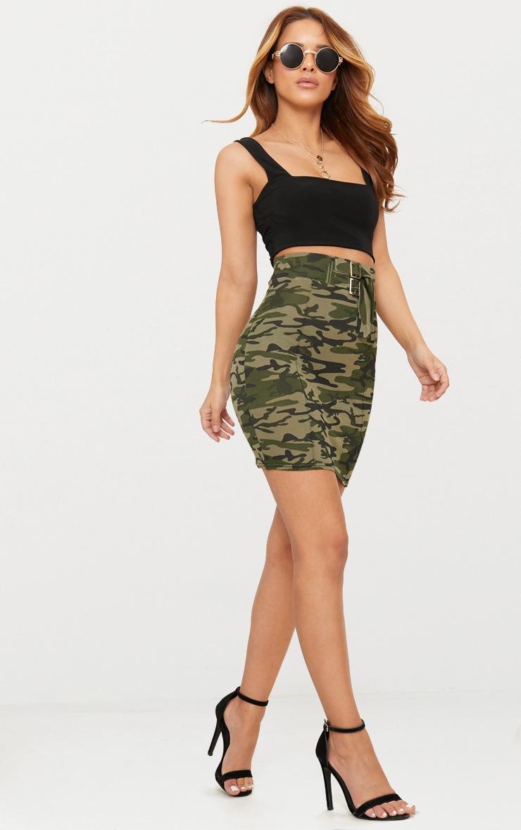 Petite Khaki Camo High Waisted Bodycon Skirt 4