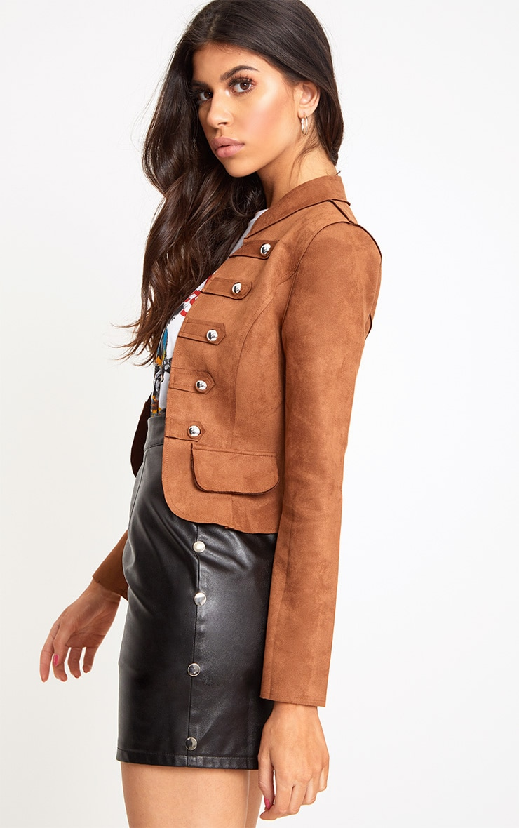 Tan Faux Suede Military Jacket 3