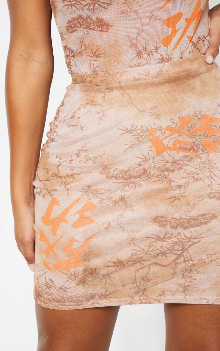 Shape Nude Oriental Print Bodycon Skirt 5