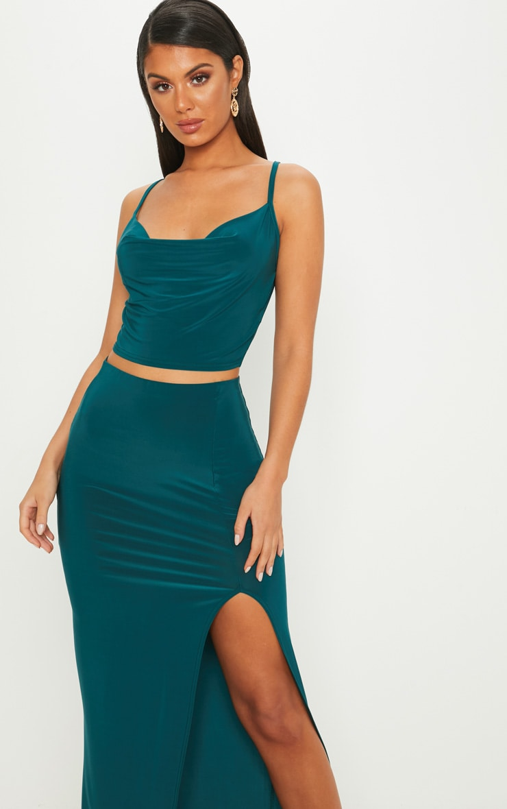 Emerald Green Cowl Neck Crop Top 1