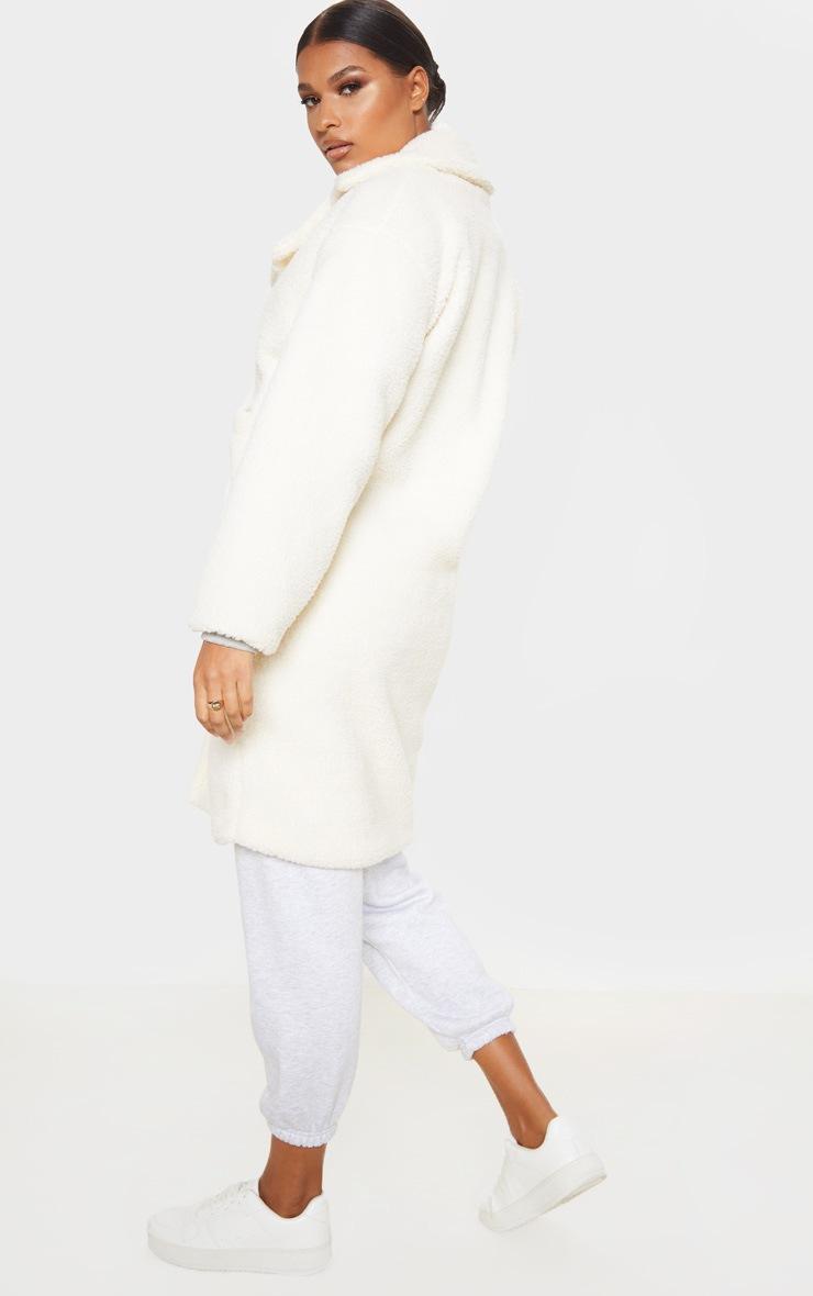Cream Borg Longline Coat 2