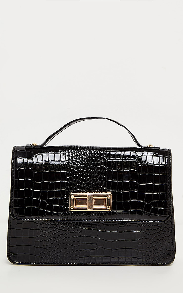 Black Patent Croc Mini Bag 3