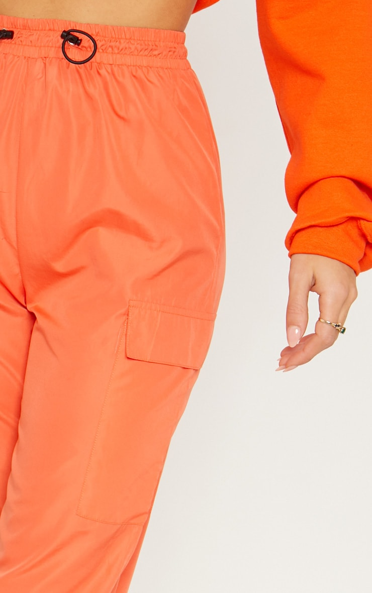 Orange Toggle Waist Shell Suit Track Pants 5