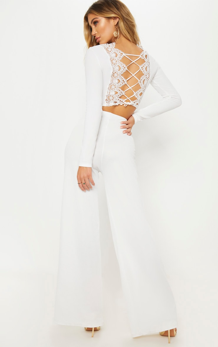 White Lace Up Back Long Sleeve Crop Top  4