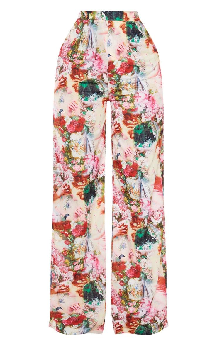 Rose Femme Renaissance Print Wide Leg Pants 3