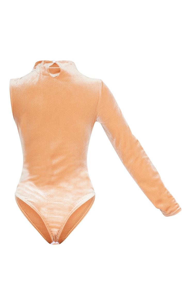 Stone Velvet One Shoulder Bodysuit  3