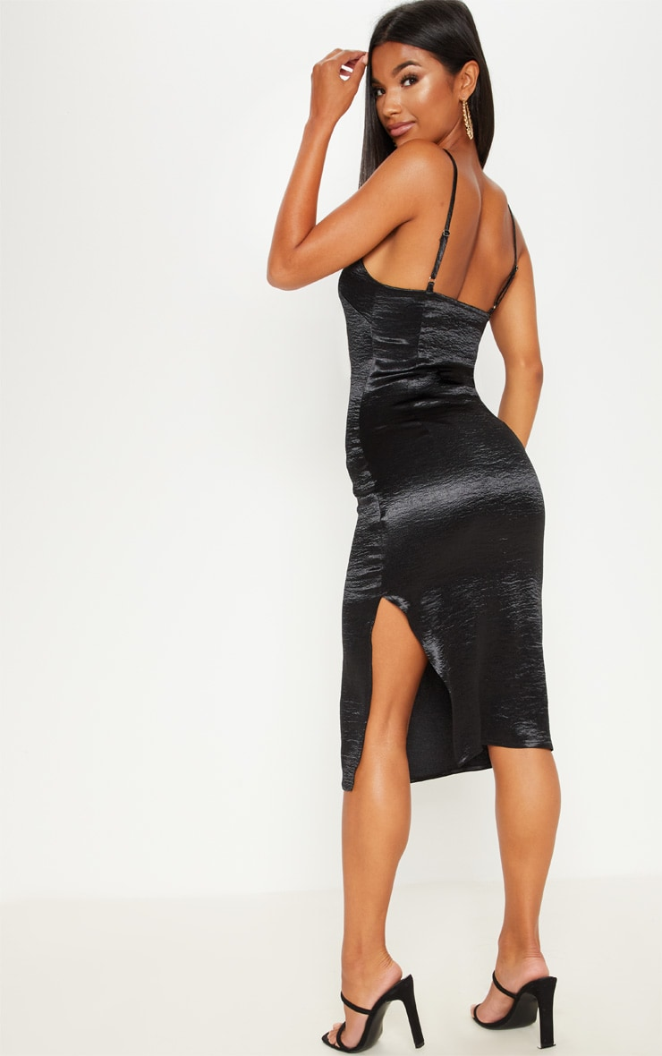Black Satin Slip Midi Dress 2