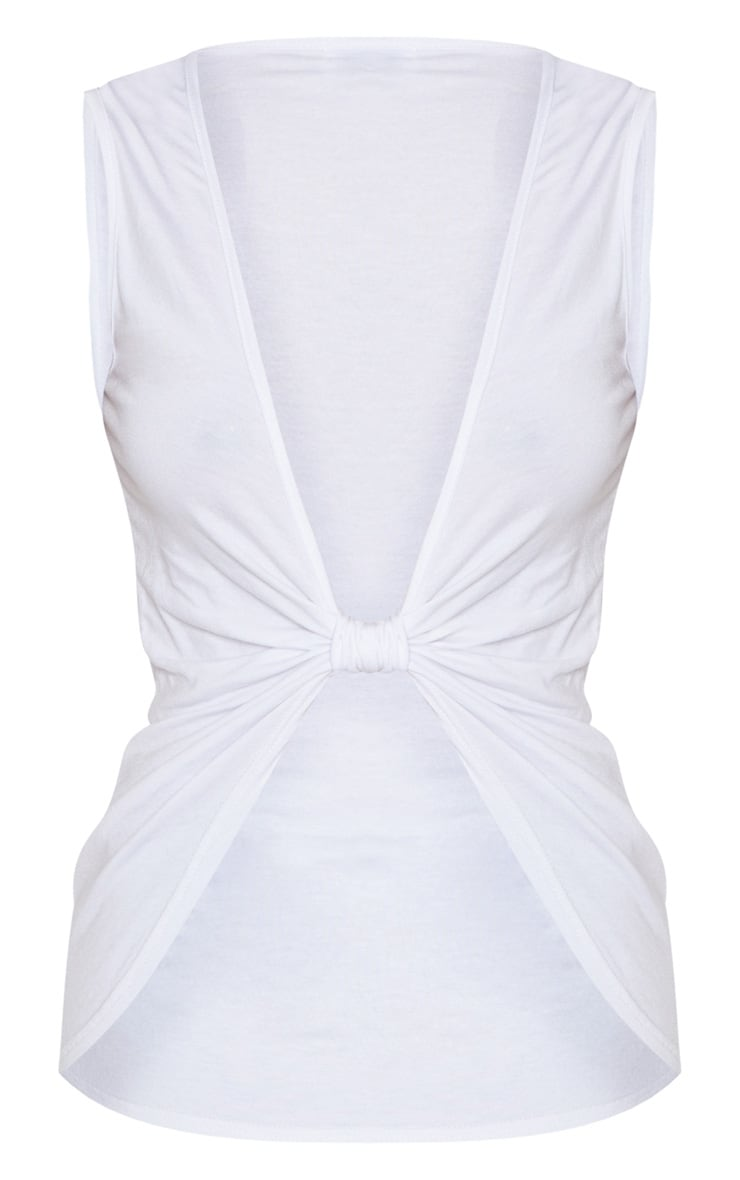 White Sleeveless Twist Front Top 3