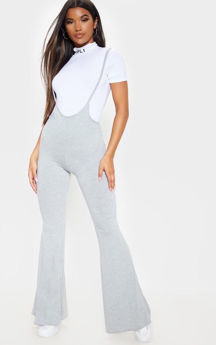 Grey Dungaree Style Flare Leg Pants 4