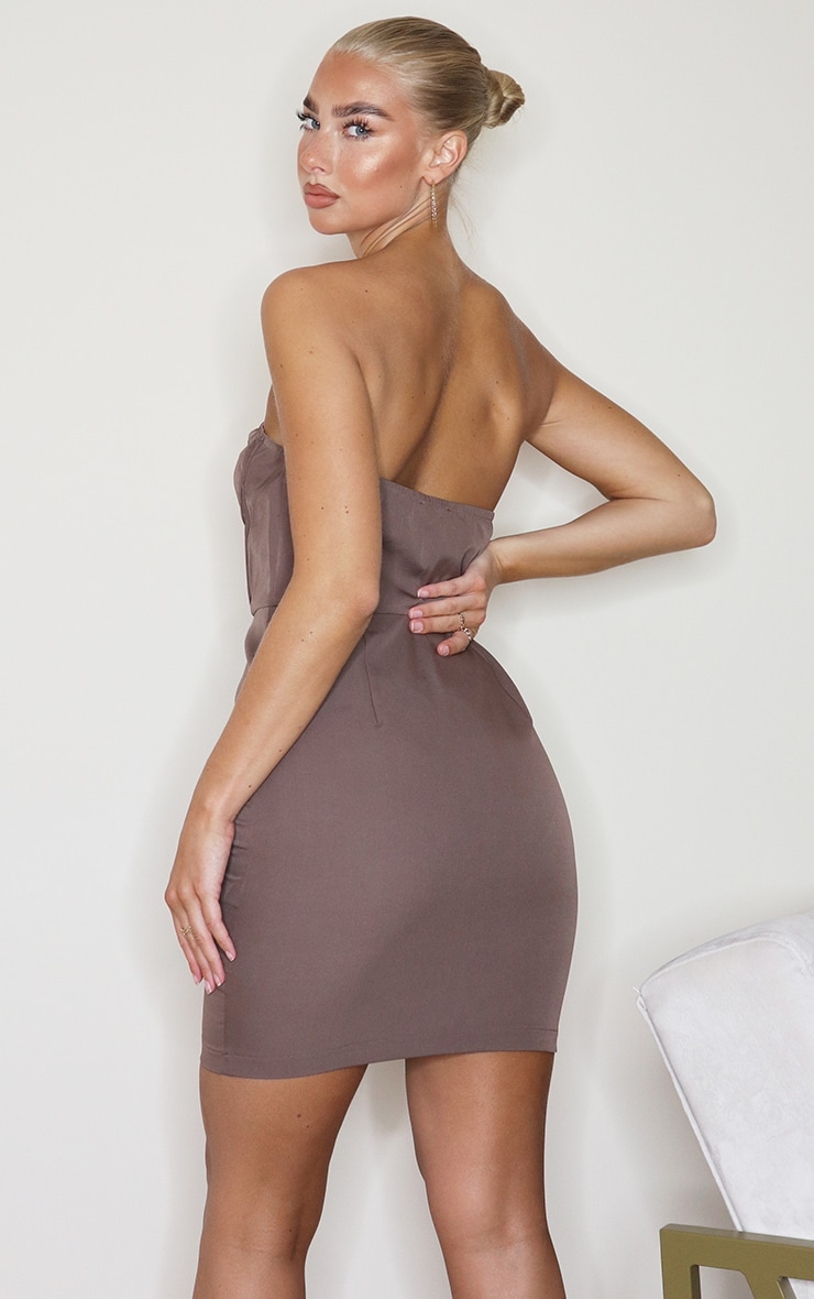Taupe Woven Corset Lace Up Detail Bandeau Bodycon Dress 2