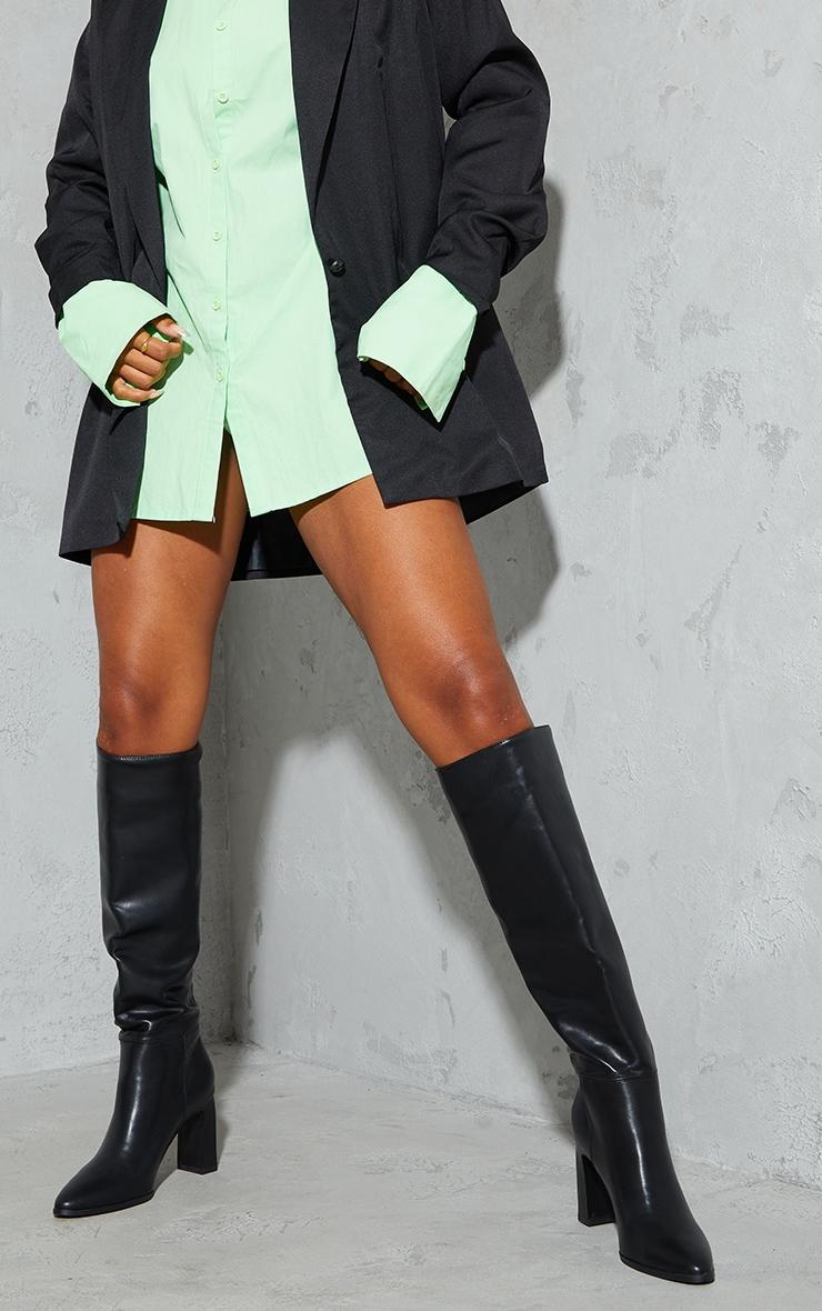 Black Block High Heel Knee Boots 2