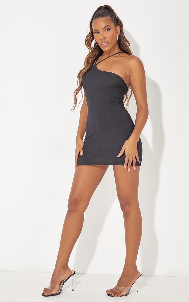 Black Ribbed Asymmetric Neck Detail Bodycon Dress 3