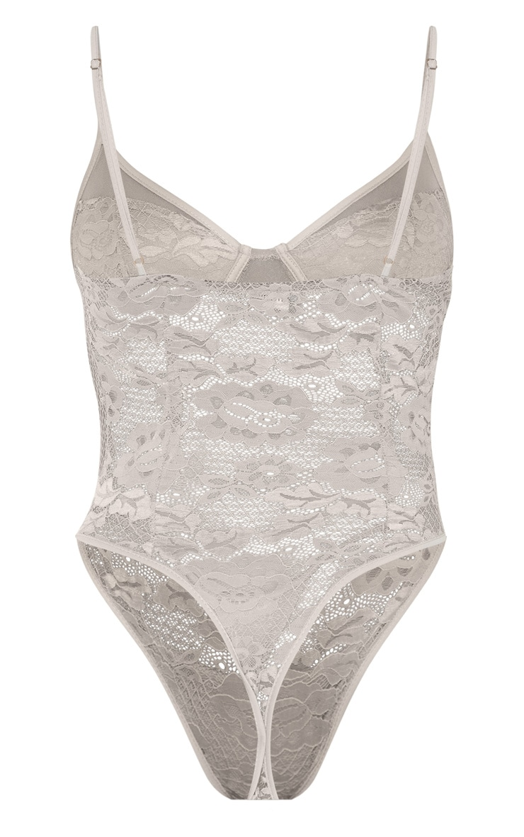 Dove Grey Sheer Lace Cupped Bodysuit 6