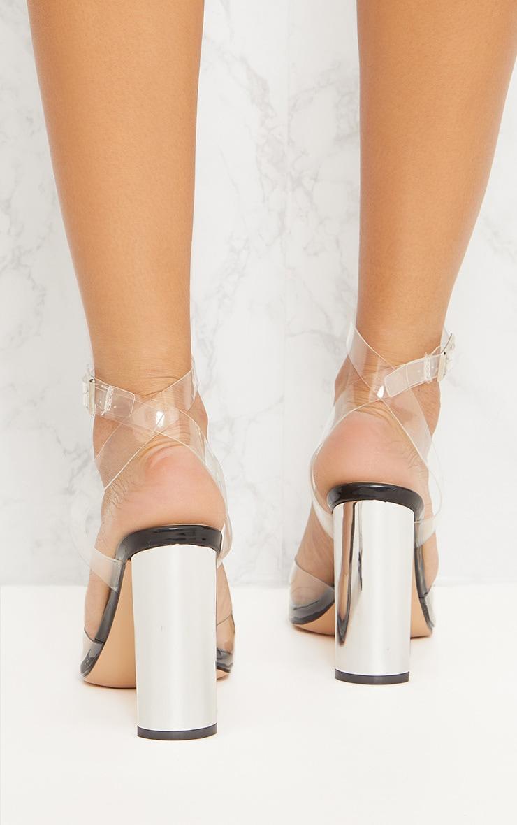 Black Clear Flat Heel Sandal 3