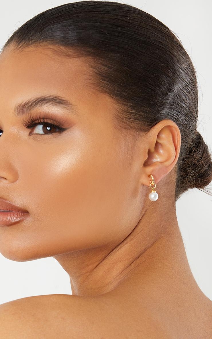 Gold Mini Dainty Pearl Hoop Earrings 1