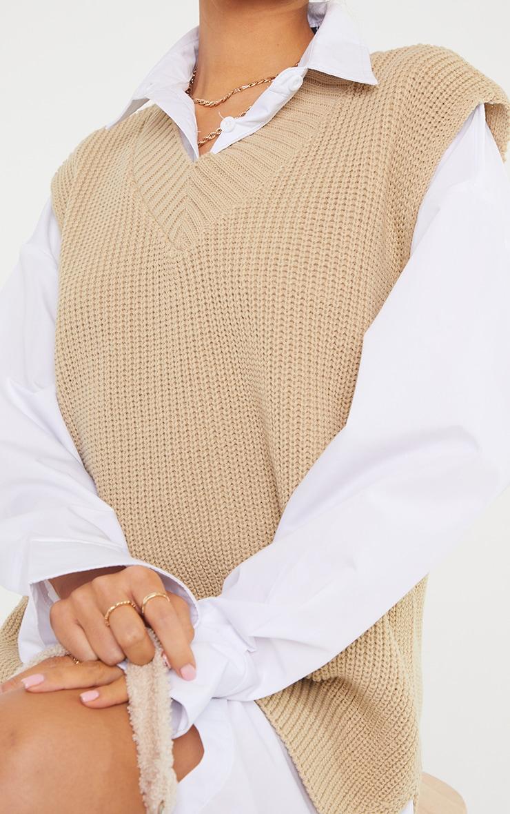 Petite Oatmeal V Neck Knitted Side Split Vest  4
