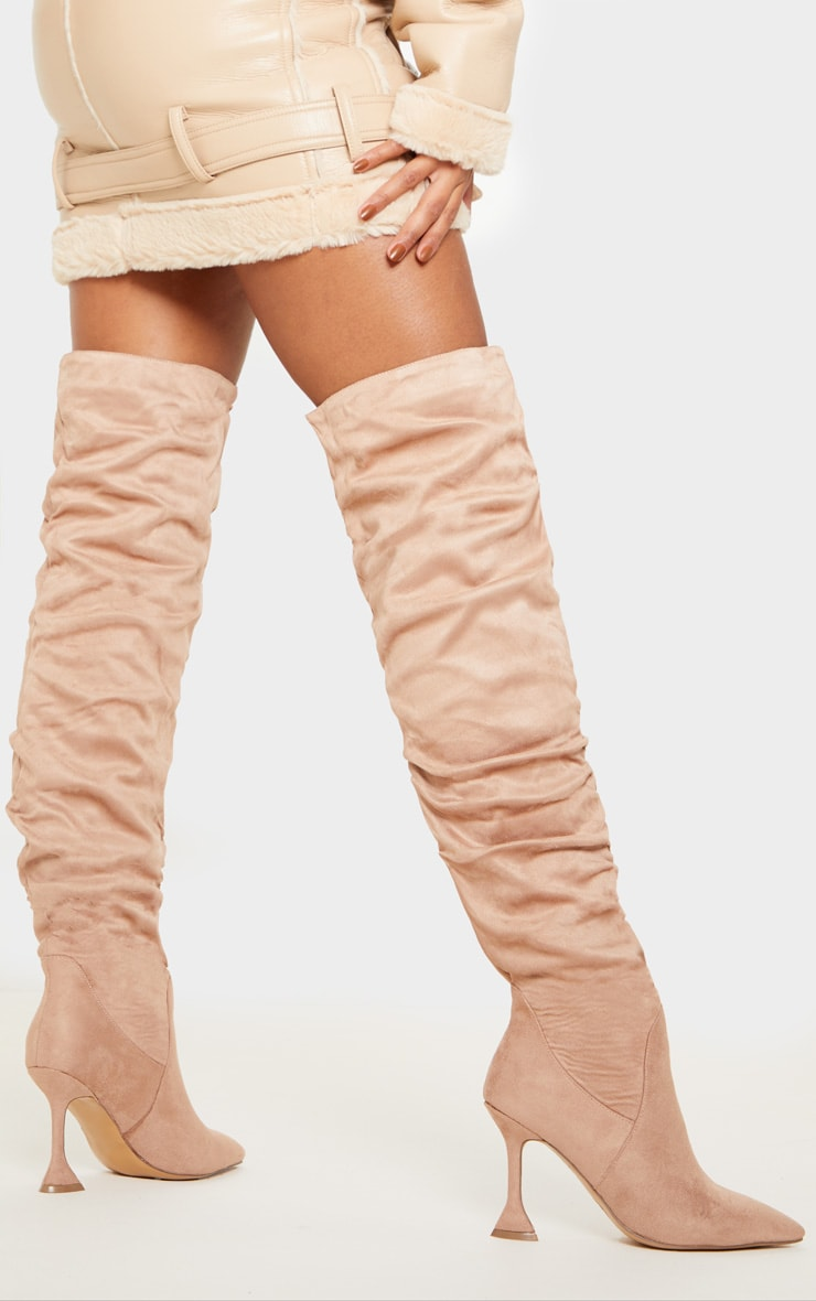 Taupe Flare Heel Slouch Thigh High Boot 1
