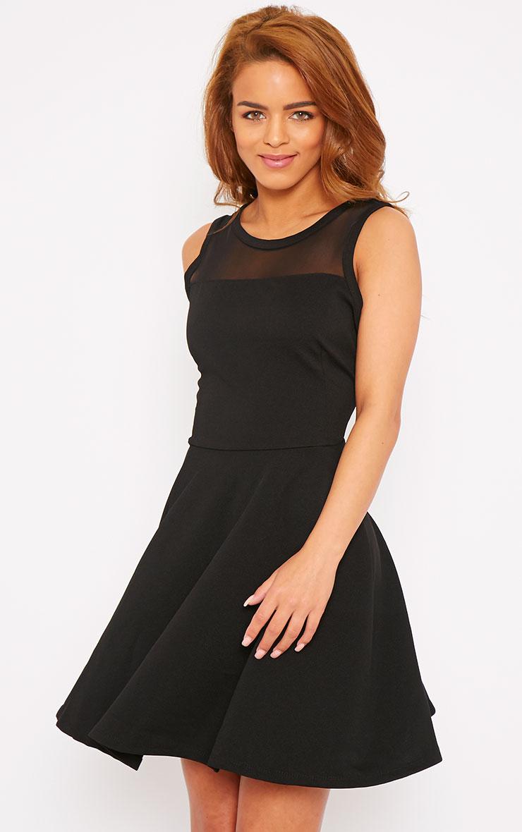 Adele Black Mesh Panel Skater Dress 1