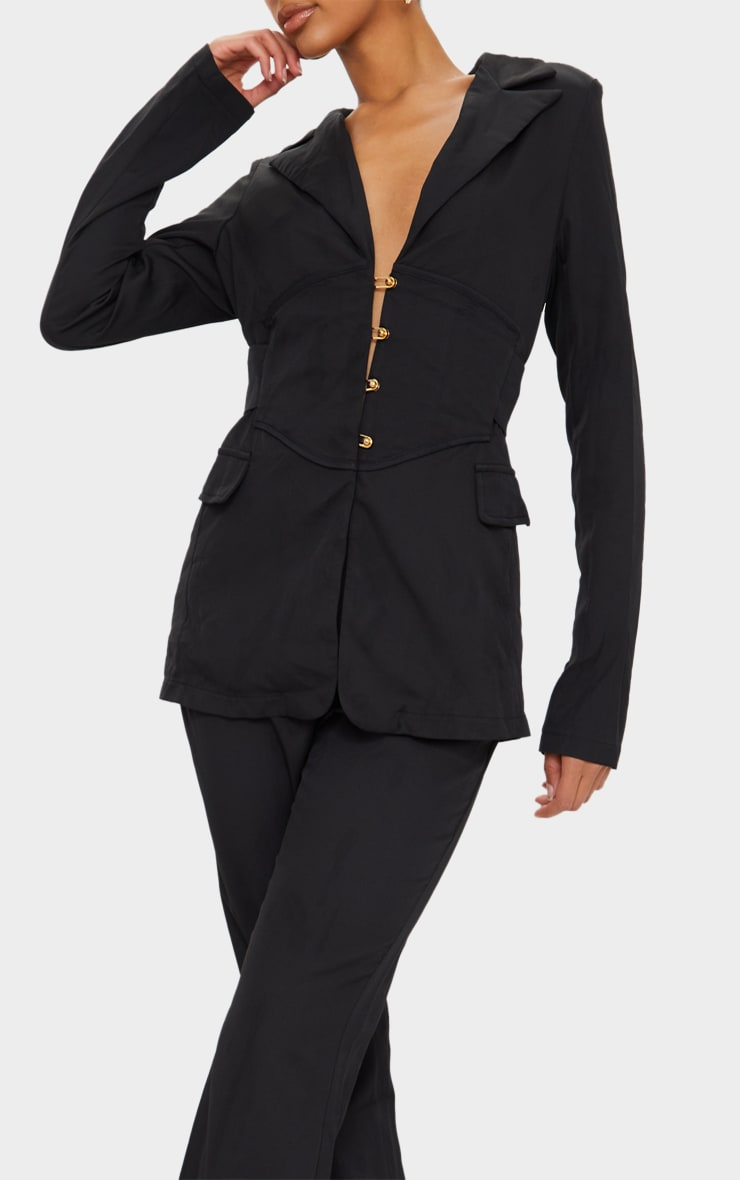 Black Pin Detail Tailored Long Sleeve Jumpsuit 4