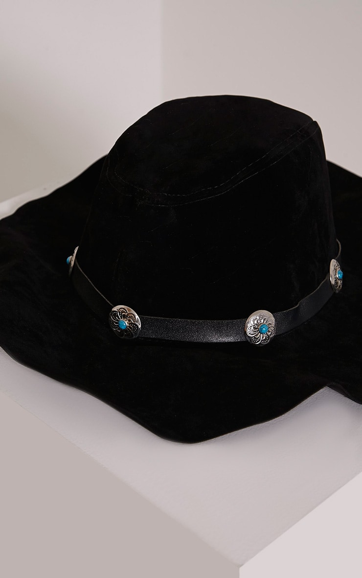 Mable Black Faux Suede Turquoise Stone Fedora Hat 4
