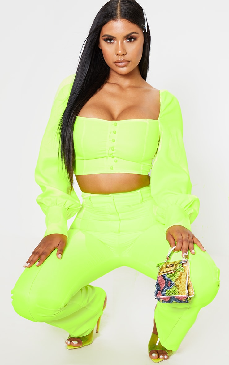 Neon Lime Button Front Puff Sleeve Top 5
