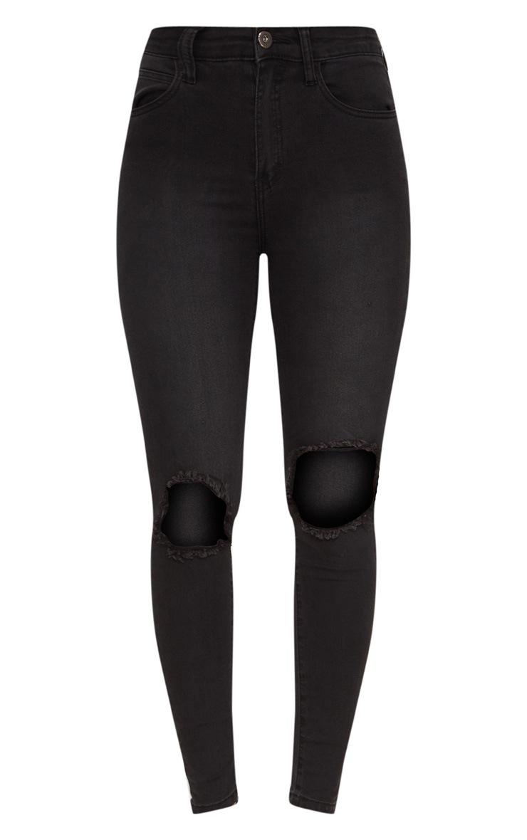 Jean skinny noir délavé ouvert au genou avec 5 poches 3