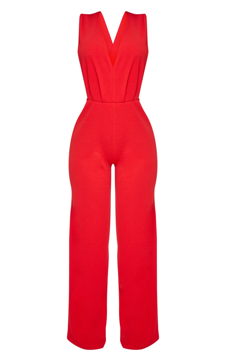 Shape Red Side Boob Wide Leg Jumpsuit 3