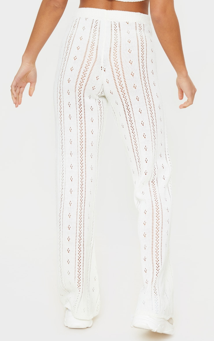 Petite Cream Pointelle Knit Wide Leg Pants 3