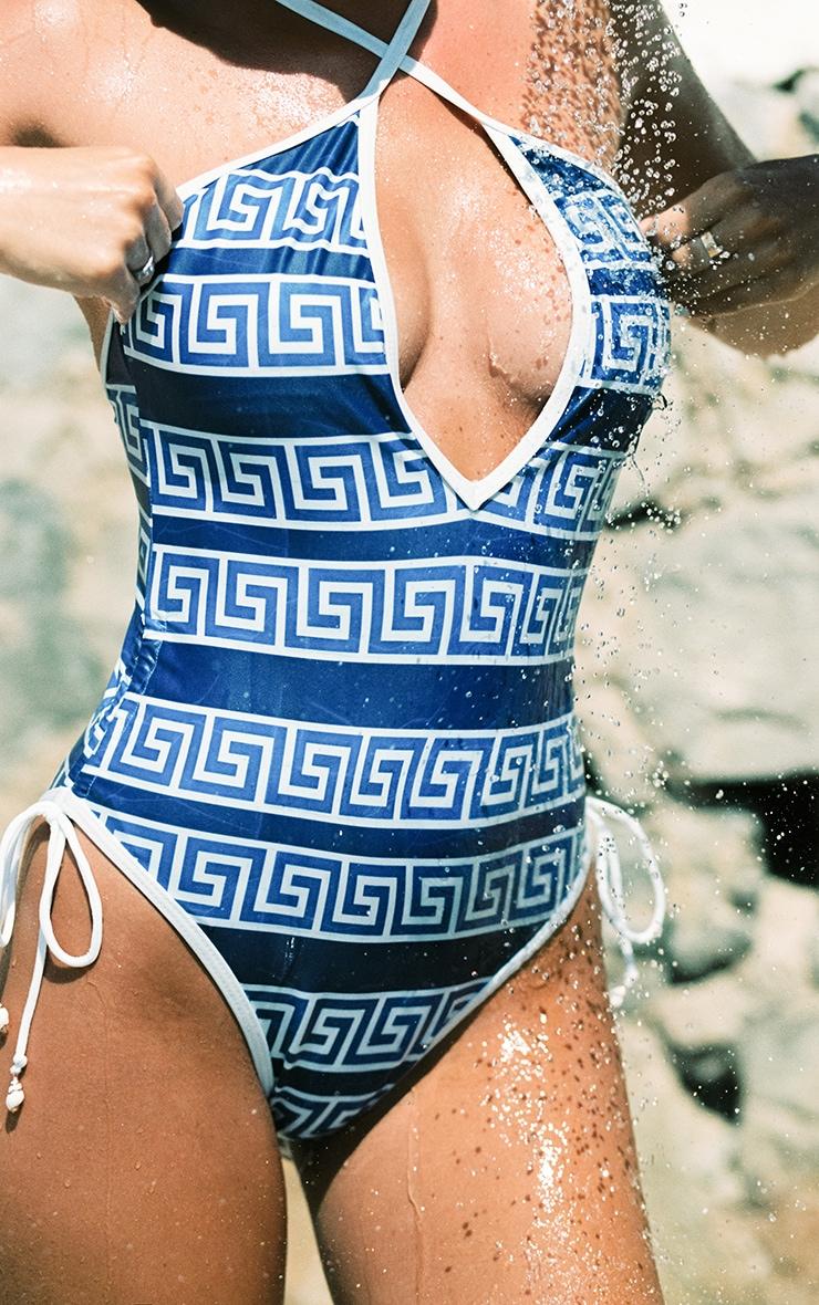 Blue Greek Key Ruched Swimsuit 4