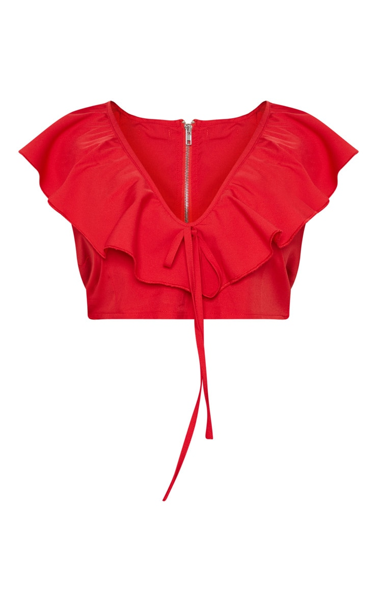 Plus Red Plunge Crop Top 3