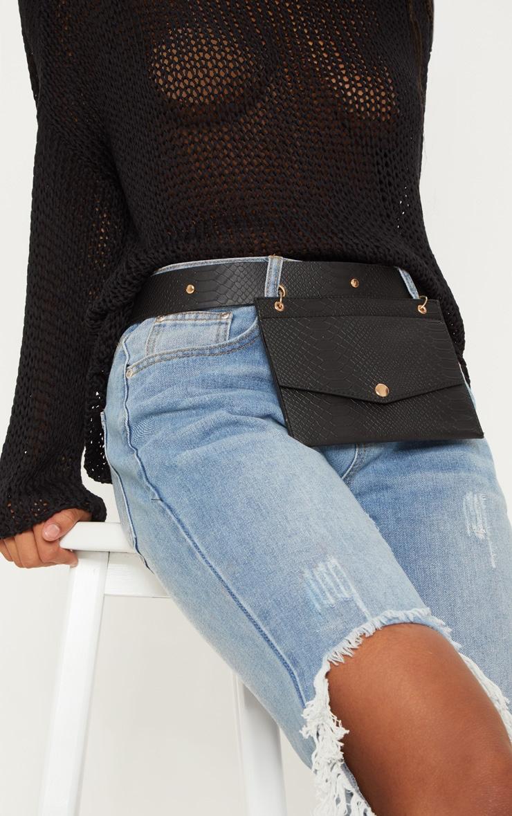 Black Croc Envelope Belted Bum Bag 1