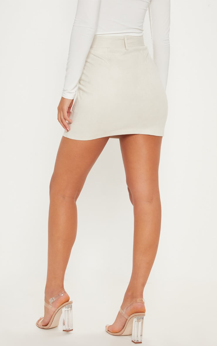 Cream Faux Suede Belted Biker Mini Skirt 4