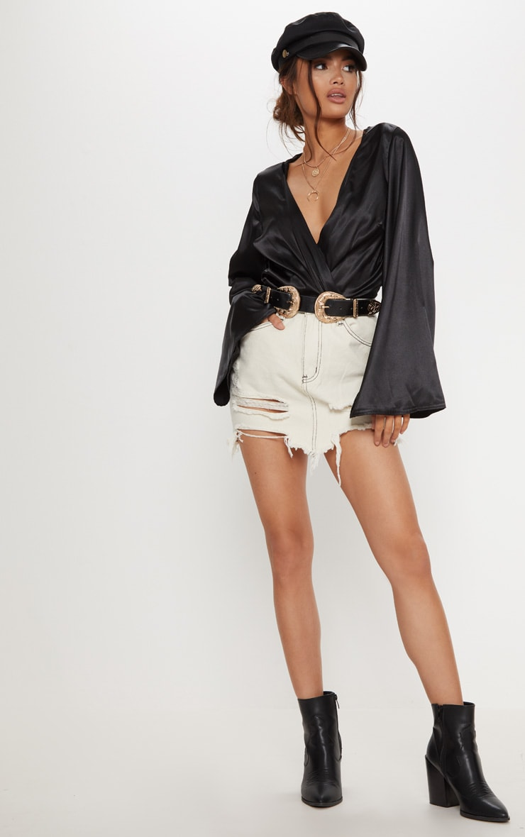 Ecru Contrast Stitch Distressed Denim Mini Skirt 5