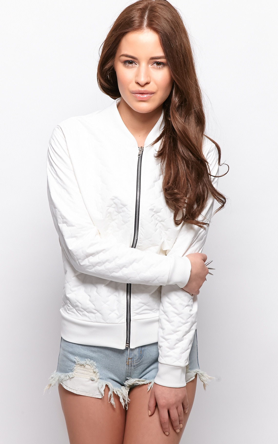 Jamie White Quilted Bomber Jacket 4